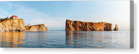Canvas Print featuring the photograph Perce Rock At Gaspe Peninsula by Elena Elisseeva