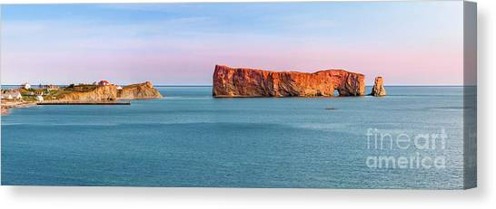 Canvas Print featuring the photograph Perce Rock Panorama At Sunset by Elena Elisseeva