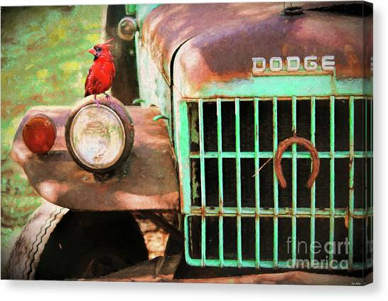 Rusty Truck Canvas Print - Perched On The Old Dodge by Tina LeCour
