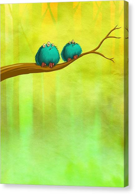 Perching Fluffs Canvas Print
