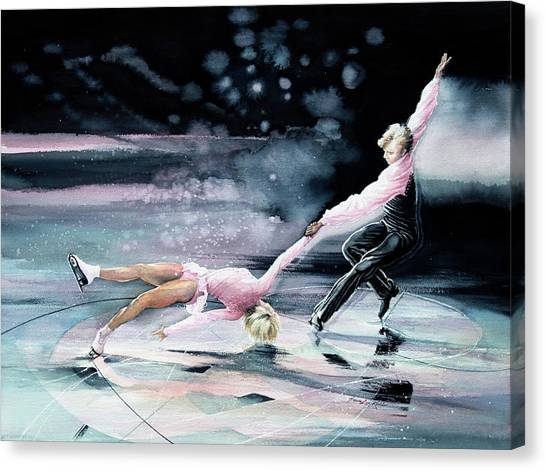 Figure Skating Canvas Print - Perfect Harmony by Hanne Lore Koehler
