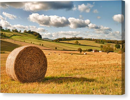 Hay Bales Canvas Print - Perfect Harvest Landscape by Amanda Elwell
