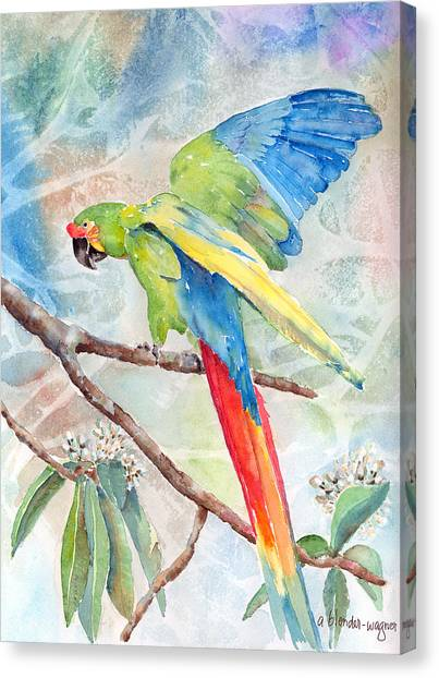Macaws Canvas Print - Perfect Landing by Arline Wagner
