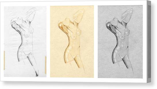 Perfume Of Venus - Triptych - Homage Rodin Canvas Print