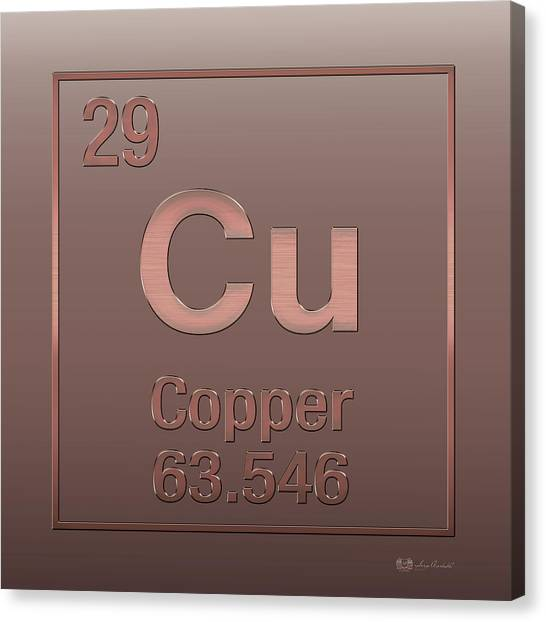 Periodic Table Of Elements - Copper - Cu - Copper On Copper Canvas Print