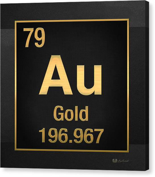 Periodic Table Of Elements - Gold - Au - Gold On Black Canvas Print