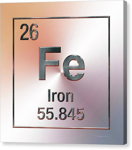 Periodic Table Of Elements - Iron Fe Canvas Print