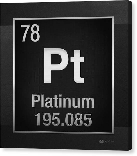 Periodic Table Of Elements - Platinum - Pt - Platinum On Black Canvas Print