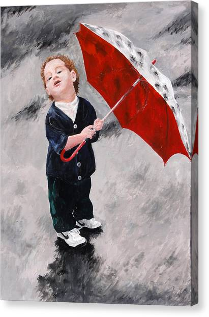 Perry In The Rain Canvas Print by Denise H Cooperman