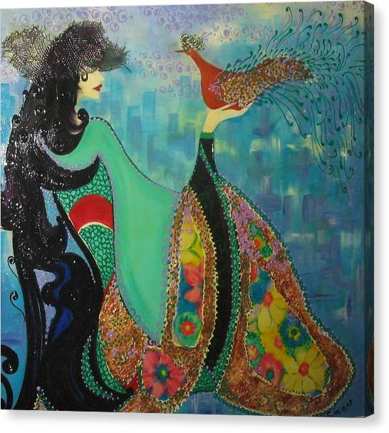 Persian Women With The Bird Canvas Print