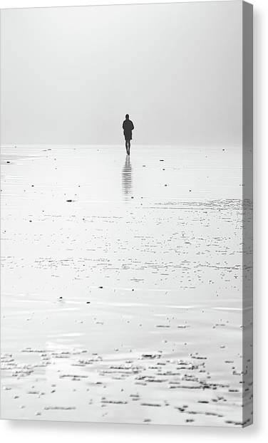 Person Running On Beach Canvas Print