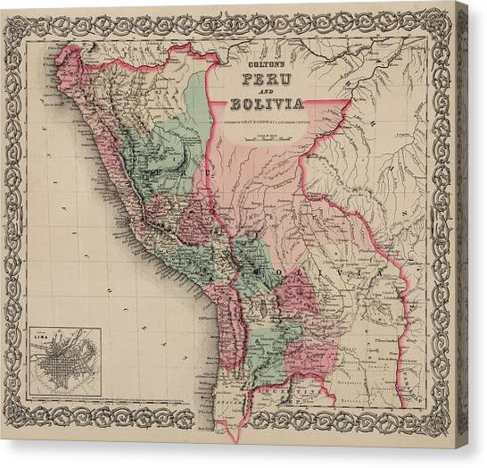 Bolivian Canvas Print - Peru And Bolivia by Colton