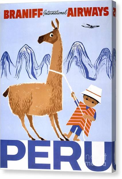 Peru Vintage Travel Poster Restored Canvas Print