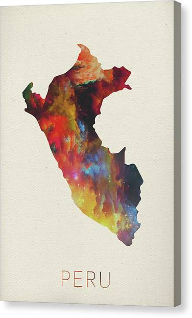 Peruvian Canvas Print - Peru Watercolor Map by Design Turnpike