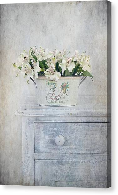 Charming Cottage Canvas Print - Peruvian Lilies by Kim Hojnacki