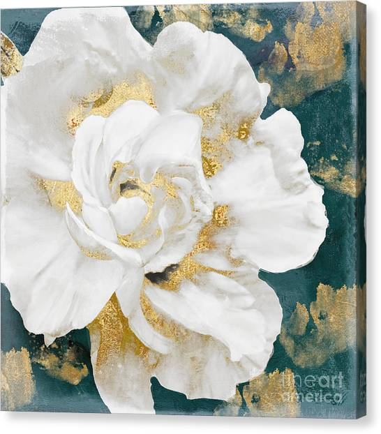 Gold Canvas Print - Petals Impasto White And Gold by Mindy Sommers