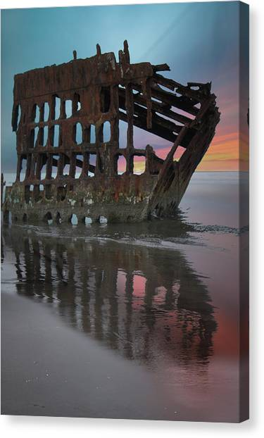 Peter Iredale Canvas Print - Peter Iredale Shipwreck At Sunrise by Art Spectrum