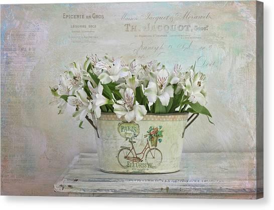 Charming Cottage Canvas Print - Petite Fleurs by Kim Hojnacki