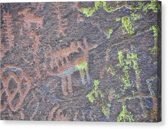 Petroglyph Wolf Attack Canvas Print