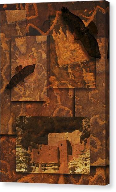Petroglyphs Red Tailed Hawk Canvas Print by Bob Coates