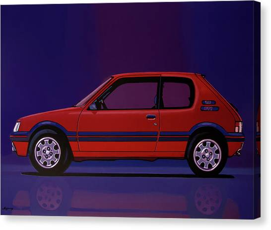 Realism Art Canvas Print - Peugeot 205 Gti 1984 Painting by Paul Meijering
