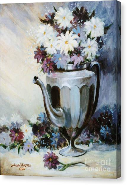 Pewter Coffee Pot And Daisies Canvas Print by JoAnne Corpany