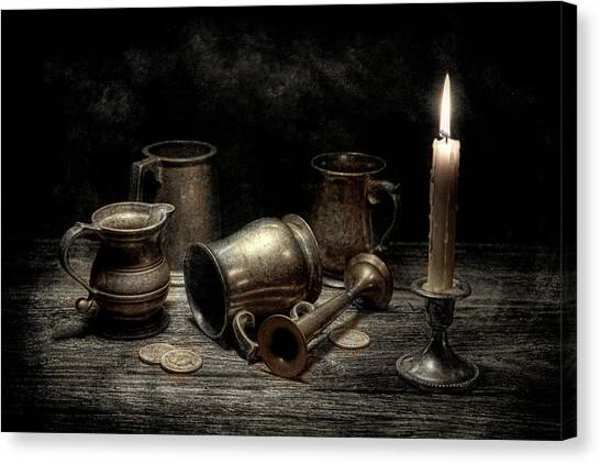 Coins Canvas Print - Pewter Still Life I by Tom Mc Nemar