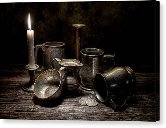 Coins Canvas Print - Pewter Still Life II by Tom Mc Nemar