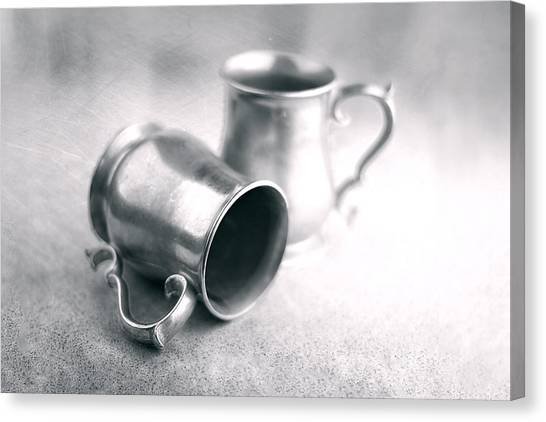Laying Canvas Print - Pewter Tankards Still Life by Tom Mc Nemar