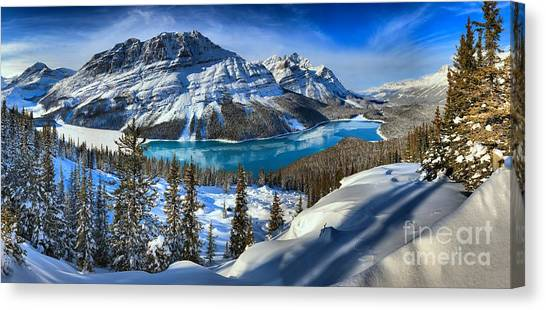 Peyto Lake Winter Panorama Canvas Print