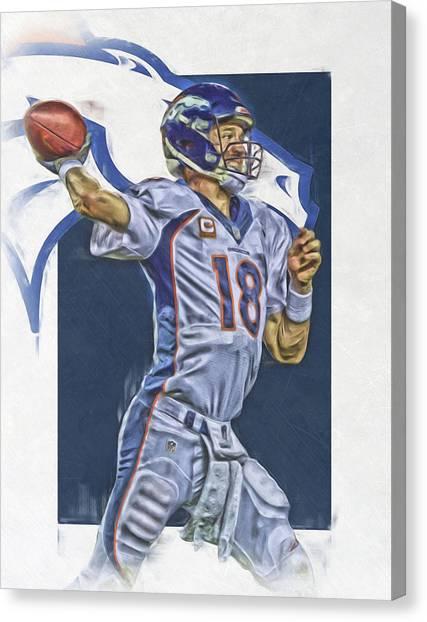 Peyton Manning Canvas Print - Peyton Manning Denver Broncos Oil Art by Joe Hamilton