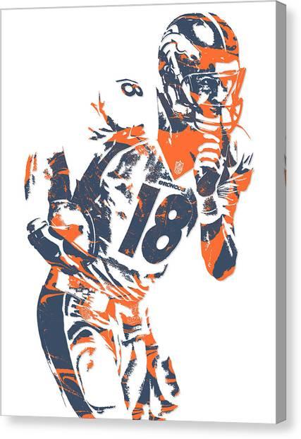Peyton Manning Canvas Print - Peyton Manning Denver Broncos Pixel Art 6 by Joe Hamilton