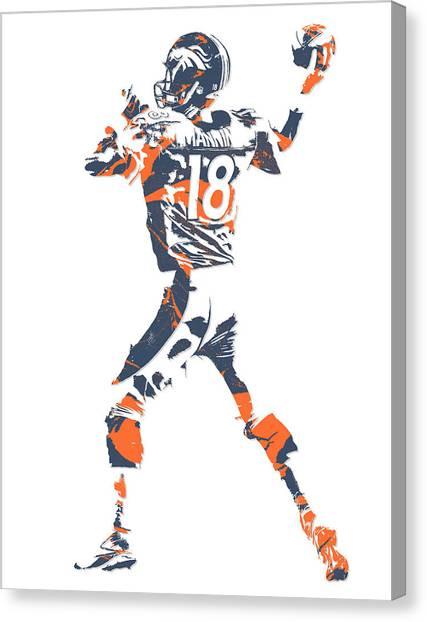 Peyton Manning Canvas Print - Peyton Manning Denver Broncos Pixel Art 7 by Joe Hamilton