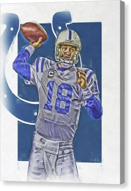 Indianapolis Colts Canvas Print - Peyton Manning Indianapolis Colts Oil Art by Joe Hamilton