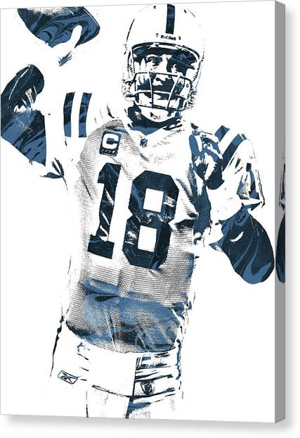 Peyton Manning Canvas Print - Peyton Manning Indianapolis Colts Pixel Art 2 by Joe Hamilton