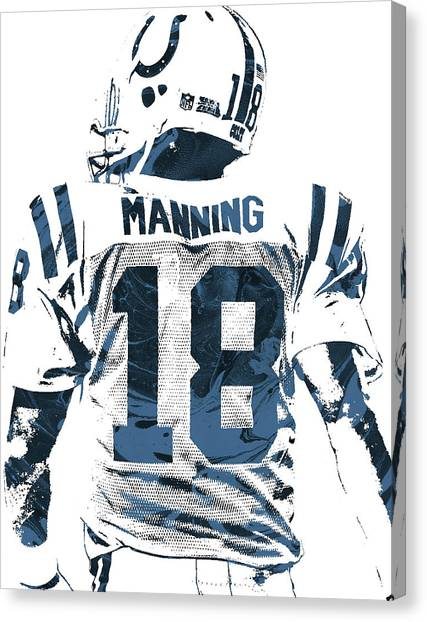 Indianapolis Colts Canvas Print - Peyton Manning Indianapolis Colts Pixel Art by Joe Hamilton
