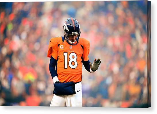 Football Players Canvas Print - Peyton Manning by Maye Loeser