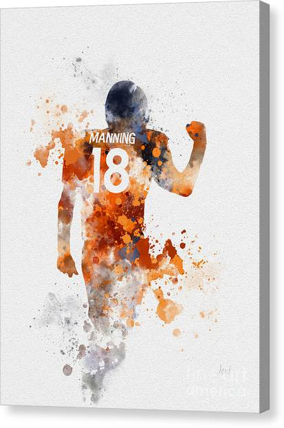 Superbowl Canvas Print - Peyton Manning by Rebecca Jenkins