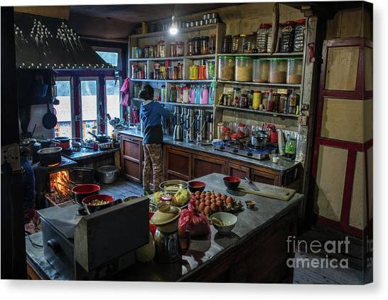 K2 Canvas Print - Phakding Teahouse Kitchen Morning by Mike Reid