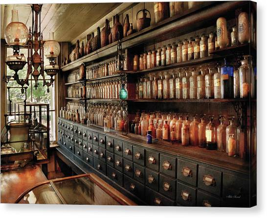 Pharmacy - So Many Drawers And Bottles Canvas Print