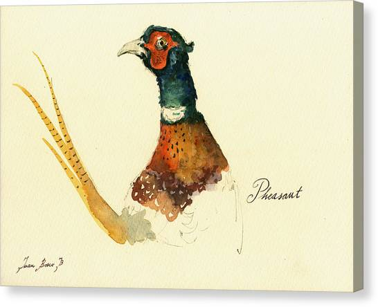 Pheasants Canvas Print - Pheasant Painting by Juan  Bosco