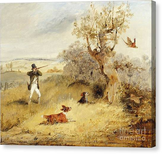 Shotguns Canvas Print - Pheasant Shooting by Henry Thomas Alken