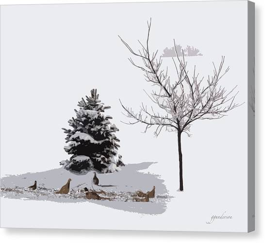 Pheasants In The Snow Canvas Print
