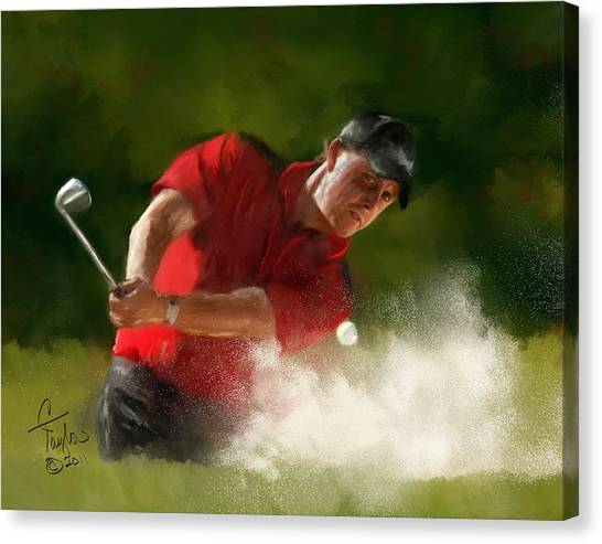 Golfers Canvas Print - Phil Mickelson - Lefty In Action by Colleen Taylor
