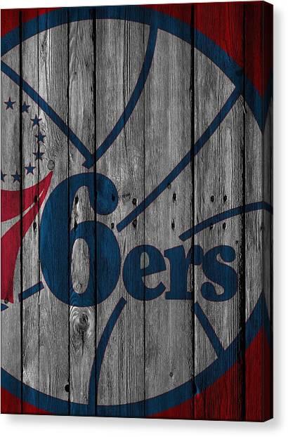 Philadelphia Sixers Canvas Print - Philadelphia 76ers Wood Fence by Joe Hamilton