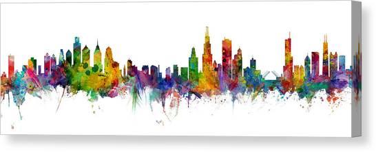 Philadelphia Skyline Canvas Print - Philadelphia And Chicago Skylines Mashup by Michael Tompsett