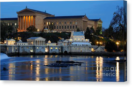 Philadelphia Art Museum And Fairmount Water Works Canvas Print