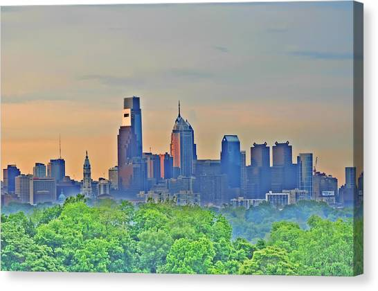 City Sunrises Canvas Print - Philadelphia At Sunrise by Bill Cannon