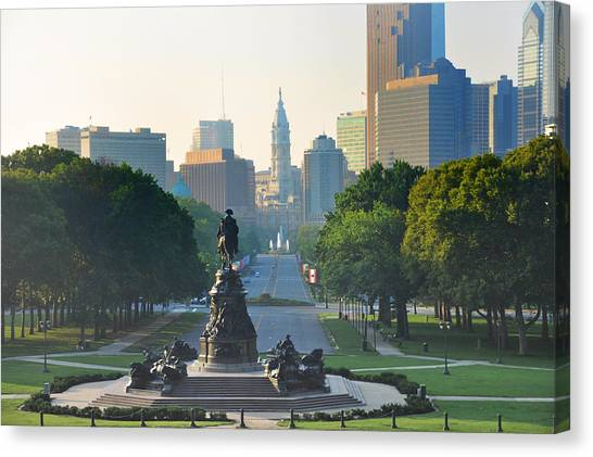 Philadelphia Phillies Canvas Print - Philadelphia Benjamin Franklin Parkway by Bill Cannon