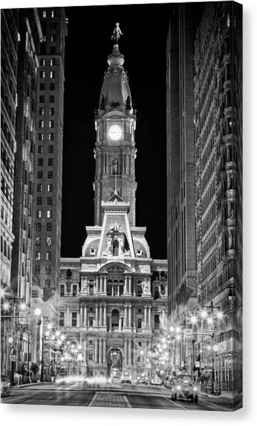 Russian Art Canvas Print - Philadelphia City Hall At Night by Val Black Russian Tourchin